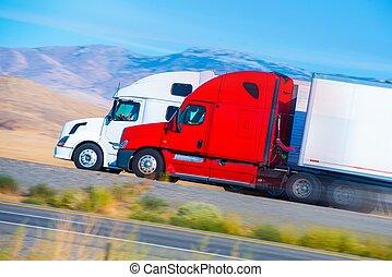 fortkörning, två, lastbilar, halv-