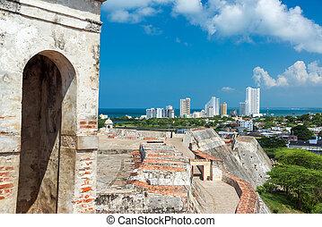 Fortress and Modern Buildings - San Felipe de Barajas castle...