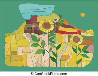 fortress - abstract illustration of an ancient fortress in...