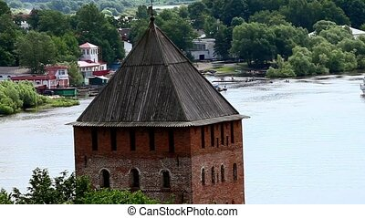 Fortress - HD1080: Top view on the river Volkhov. zoom....