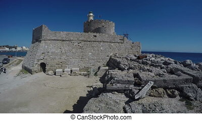 Fortress in Rhodes island, 4K - Old fortress in Rhodes...