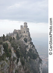 Fortress on a cliff in San Marino.
