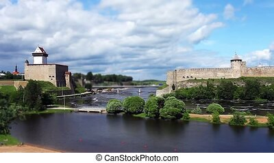 fortress Narva and Ivangorod Fortress on the border of...