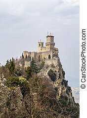 First tower or Fortress of Guaita is the oldest of the three towers constructed on Monte Titano, and the most famous. It was built in the 11th century. San Marino