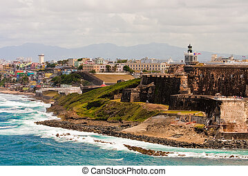 Fortress on Colorful Coast of Puerto Rico - An old fortress...