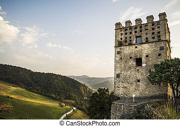 the fortress tower on the rock in Roccascalegna in Abruzzo, Italy