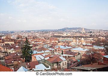 fortress., tbilisi., georgia., panorama, narikala, synhåll