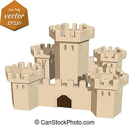 Fortress towers. Low poly style.