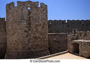 Fortress Wall - A historic fortress wall with large turret.