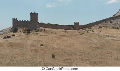 Fortress wall aerial view - Old fortress ruins and walking...