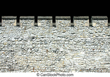 Fortress wall - Detail of tall ancient fortress stone wall