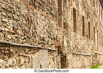 Fortress wall - Fortress Wall, built of stone and brick, of ...