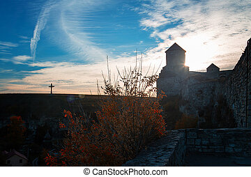 fortress wall landscape, clouds sky