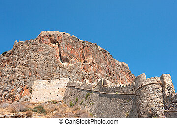 Fortress wall Monemvasia - Fortress wall at the mountain ...
