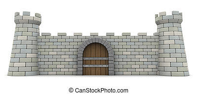 fortress wall - 3d illustration of fortress front wall,...