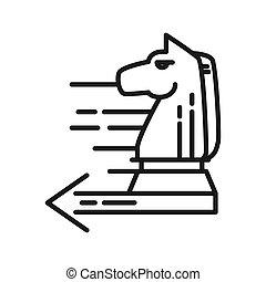 fortschritt, pferd, schach, taktisch