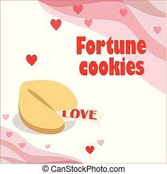 fortuin, illustratie, achtergrond., koekje, hartjes, witte