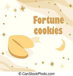 fortuin, illustratie, maan, achtergrond., koekje, beige, sterretjes