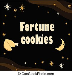 fortuin, illustratie, maan, achtergrond., koekje, sterretjes, black