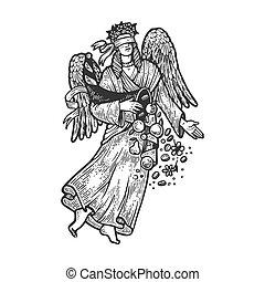 Fortuna ancient Greek goddess sketch engraving vector illustration. T-shirt apparel print design. Scratch board imitation. Black and white hand drawn image.