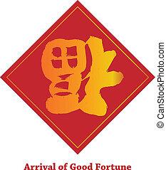 fortuna boa, chinês, ilustração, baixo, parte superior, ...