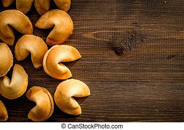 fortuna, chinês, topo madeira, predição, cima, biscoito,...