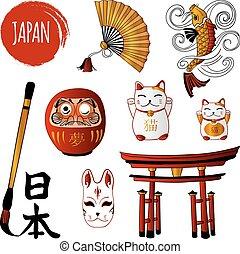 fortuna, gato, y, diferente, japonés, objetos