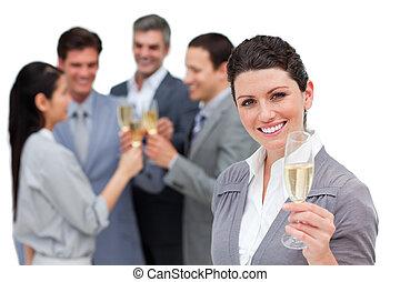 fortunato, squadra affari, tostare, con, champagne