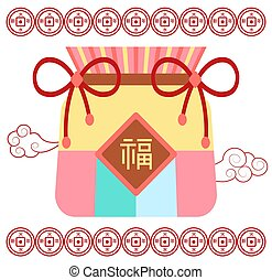 Fortune Bag with Coins and Clouds Chinese Luck