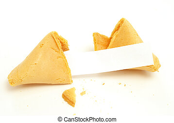 Fortune Cookie - A fortune cookie on white background with a...