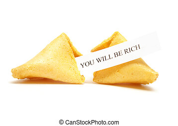 A cracked fortune cookie with the message stating that you will be rich.