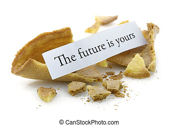 Fortune cookie - Opened fortune cookie with a positive...