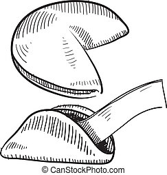 Fortune cookie sketch - Doodle style fortune cookie...
