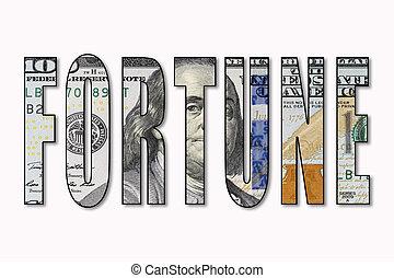 Dollar inside word fortune