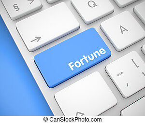 Fortune - Inscription on the Blue Keyboard Button. 3D.
