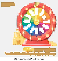Fortune spinning wheel. Gambling concept, win jackpot in casino illustration