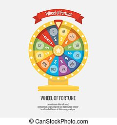 Fortune spinning wheel in flat vector style. Gambling concept