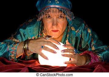 Fortune Teller and Crystal Ball - A gypsy fortune teller...