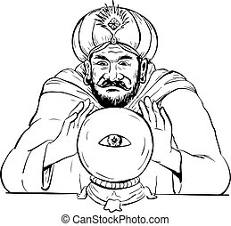 Fortune Teller Crystal Ball Drawing
