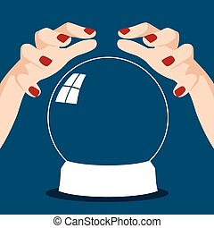 Fortune teller hands with crystal ball - Cartoon...