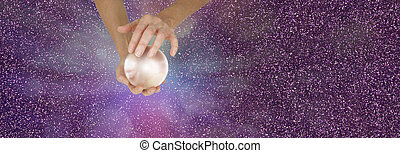 Fortune Teller holding crystal ball on purple sparkling ...