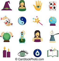 Fortune Teller Icon Flat - Fortune teller magician and...