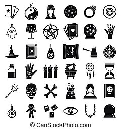 Fortune teller icons set, simple style