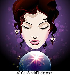 Fortune teller looks into a crystal ball