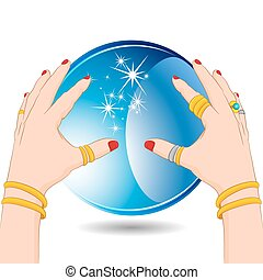 An image of a fortune teller hands with a crystal ball.