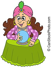 Fortune teller with crystal ball - isolated illustration.