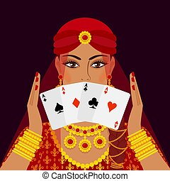 fortune teller with four card aces. vector illustration - eps 10
