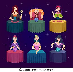 Fortune tellers. Magician witches with fairytale crystal magic balls exact vector characters. Illustration witch and medium spiritual, mysterious paranormal