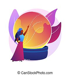 Fortune telling abstract concept vector illustration. Fortune teller online, tarot reading services, crystal ball future prediction, numerology specialist, palmist practice abstract metaphor.