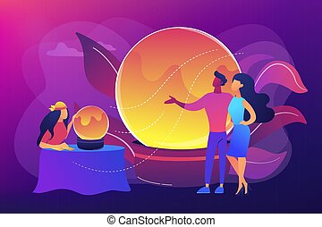 Magical divination and cartomancy. Gipsy soothsayer, prophet with clients. Fortune telling, fortune teller online, tarot reading services concept. Bright vibrant violet vector isolated illustration